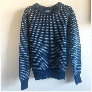 Blue & White Wool Vintage Sweater